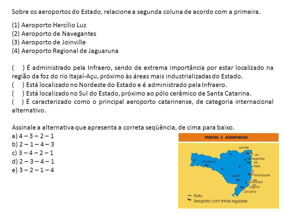 Sobre os aeroportos do Estado, relacione a segunda coluna de acordo com a primeira. (1) Aeroporto Hercílio Luz (2) Aeroporto de Navegantes (3) Aeropor