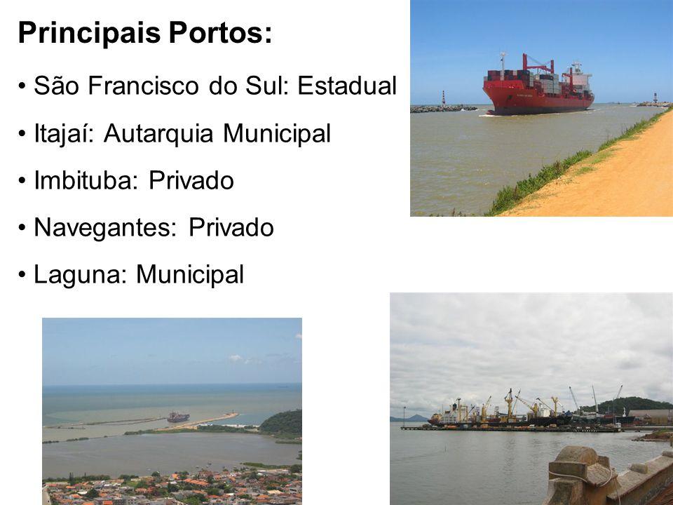 Principais Portos: • São Francisco do Sul: Estadual • Itajaí: Autarquia Municipal • Imbituba: Privado • Navegantes: Privado • Laguna: Municipal