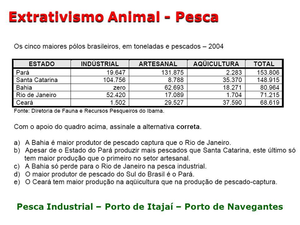 Pesca Industrial – Porto de Itajaí – Porto de Navegantes Extrativismo Animal - Pesca