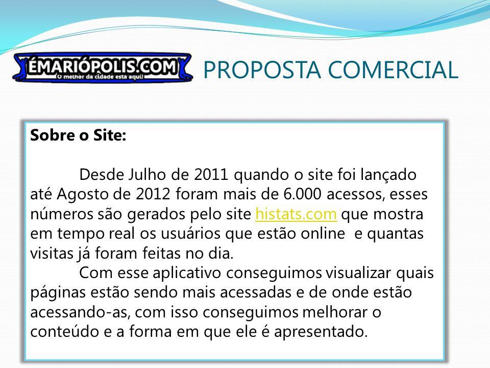 PROPOSTA COMERCIAL Sobre o Site: Desde Julho de 2011 quando o site foi lançado até Agosto de 2012 foram mais de 6.000 acessos, esses números são gerad