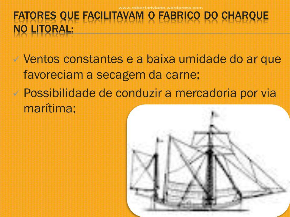  Ventos constantes e a baixa umidade do ar que favoreciam a secagem da carne;  Possibilidade de conduzir a mercadoria por via marítima;