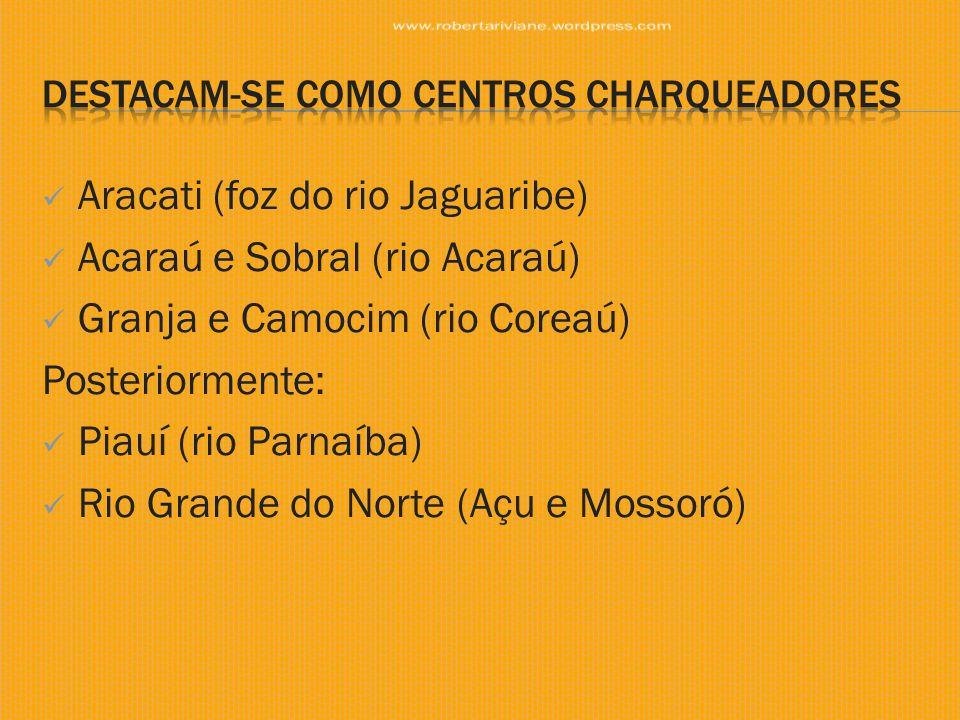  Aracati (foz do rio Jaguaribe)  Acaraú e Sobral (rio Acaraú)  Granja e Camocim (rio Coreaú) Posteriormente:  Piauí (rio Parnaíba)  Rio Grande do