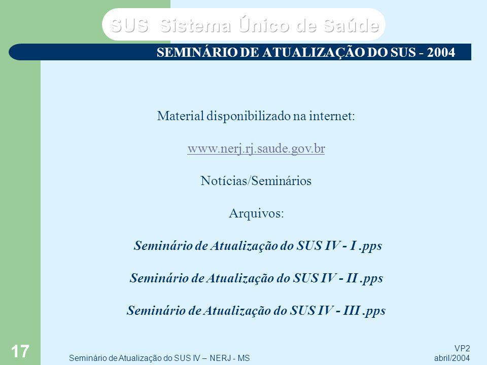 VP2 abril/2004 Seminário de Atualização do SUS IV – NERJ - MS 17 SEMINÁRIO DE ATUALIZAÇÃO DO SUS - 2004 Material disponibilizado na internet: www.nerj