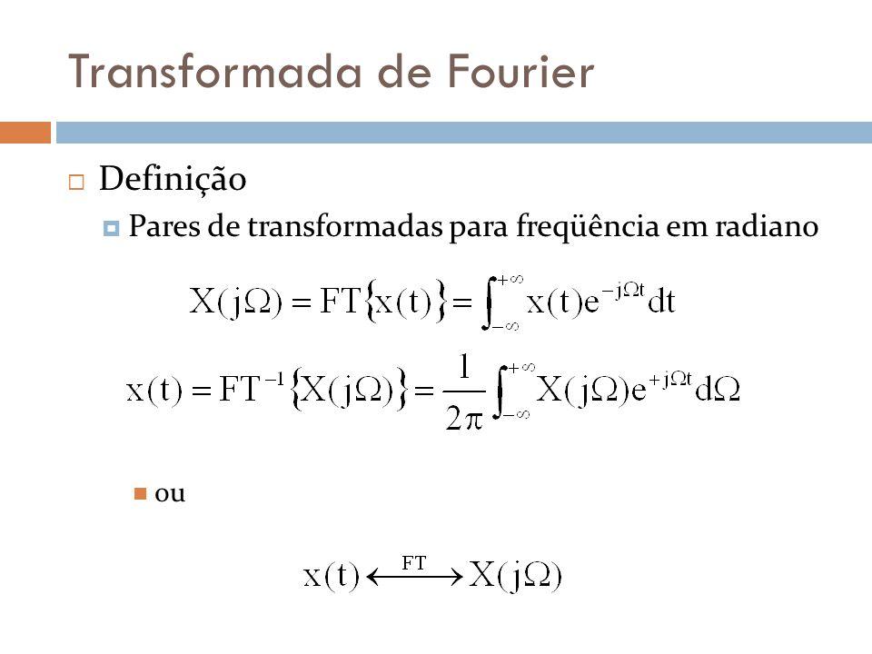 Transformada de Fourier  Definição  Pares de transformadas para freqüência em radiano  ou