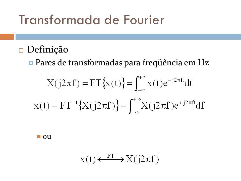 Transformada de Fourier  Definição  Pares de transformadas para freqüência em Hz  ou