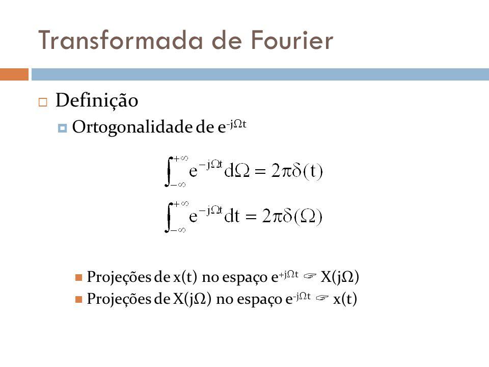 Transformada de Fourier  Definição  Ortogonalidade de e -jΩt  Projeções de x(t) no espaço e +jΩt  X(jΩ)  Projeções de X(jΩ) no espaço e -jΩt  x(t)