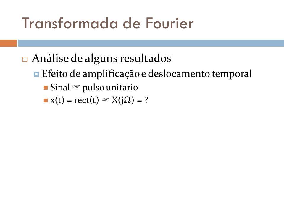 Transformada de Fourier  Análise de alguns resultados  Efeito de amplificação e deslocamento temporal  Sinal  pulso unitário  x(t) = rect(t)  X(jΩ) = ?