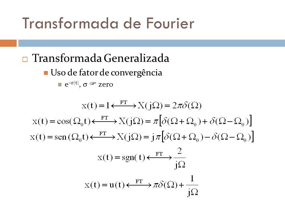 Transformada de Fourier  Transformada Generalizada  Uso de fator de convergência  e -σ|t|, σ  zero