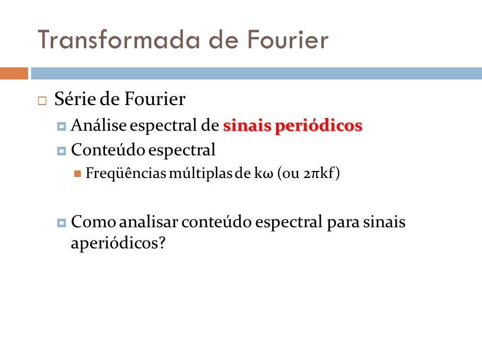 Transformada de Fourier  Série de Fourier sinais periódicos  Análise espectral de sinais periódicos  Conteúdo espectral  Freqüências múltiplas de kω (ou 2πkf)  Como analisar conteúdo espectral para sinais aperiódicos?