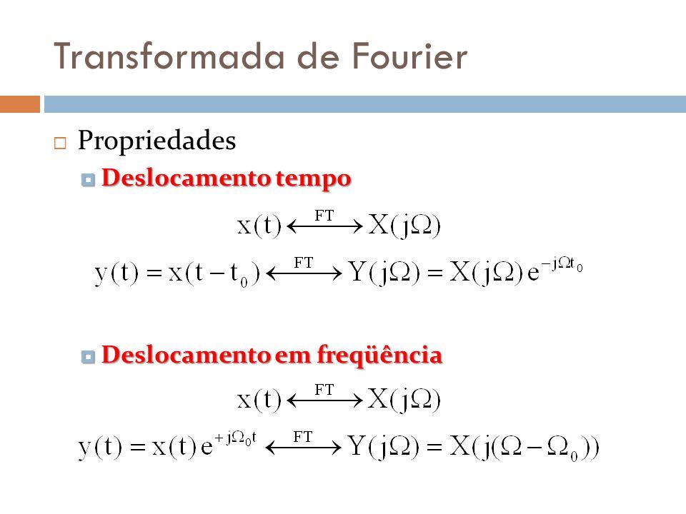 Transformada de Fourier  Propriedades  Deslocamento tempo  Deslocamento em freqüência