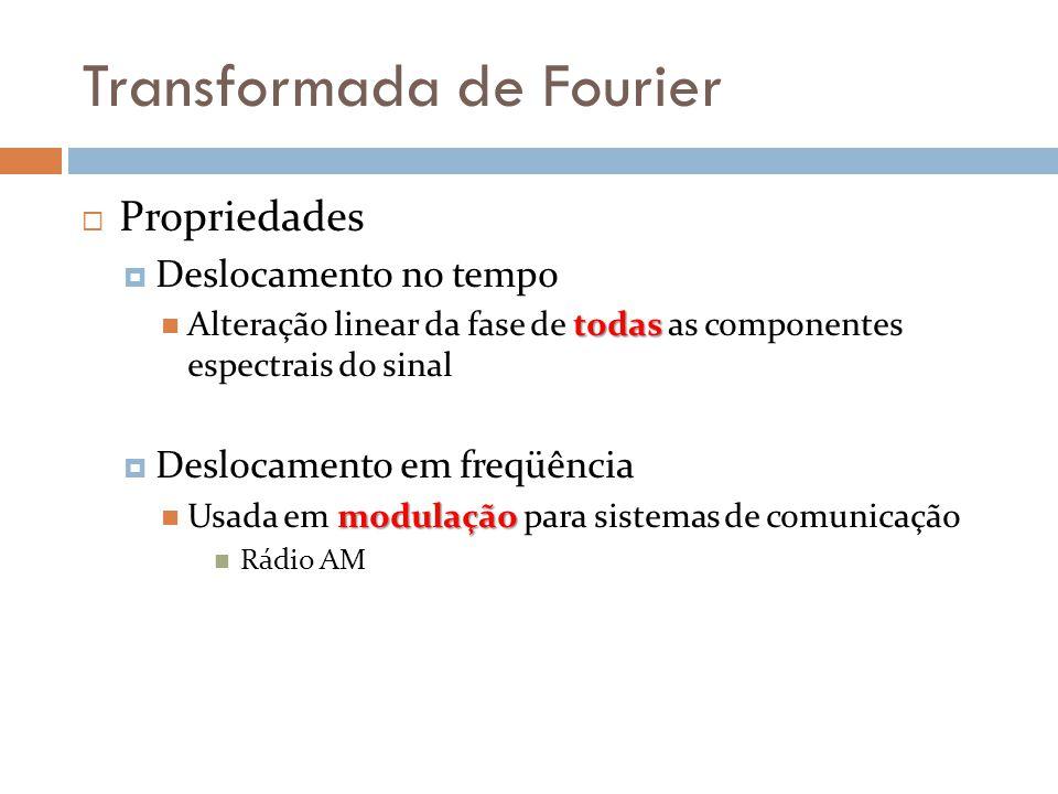 Transformada de Fourier  Propriedades  Deslocamento no tempo todas  Alteração linear da fase de todas as componentes espectrais do sinal  Deslocamento em freqüência modulação  Usada em modulação para sistemas de comunicação  Rádio AM