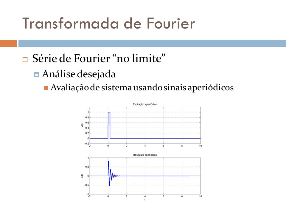 Transformada de Fourier  Série de Fourier no limite  Análise desejada  Avaliação de sistema usando sinais aperiódicos