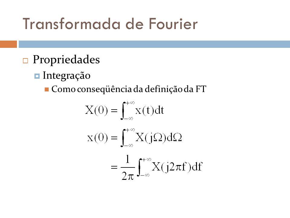 Transformada de Fourier  Propriedades  Integração  Como conseqüência da definição da FT