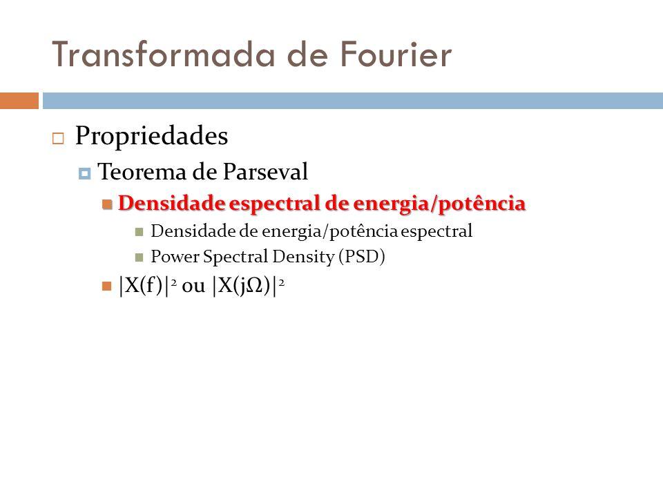 Transformada de Fourier  Propriedades  Teorema de Parseval  Densidade espectral de energia/potência  Densidade de energia/potência espectral  Power Spectral Density (PSD)  |X(f)| 2 ou |X(jΩ)| 2