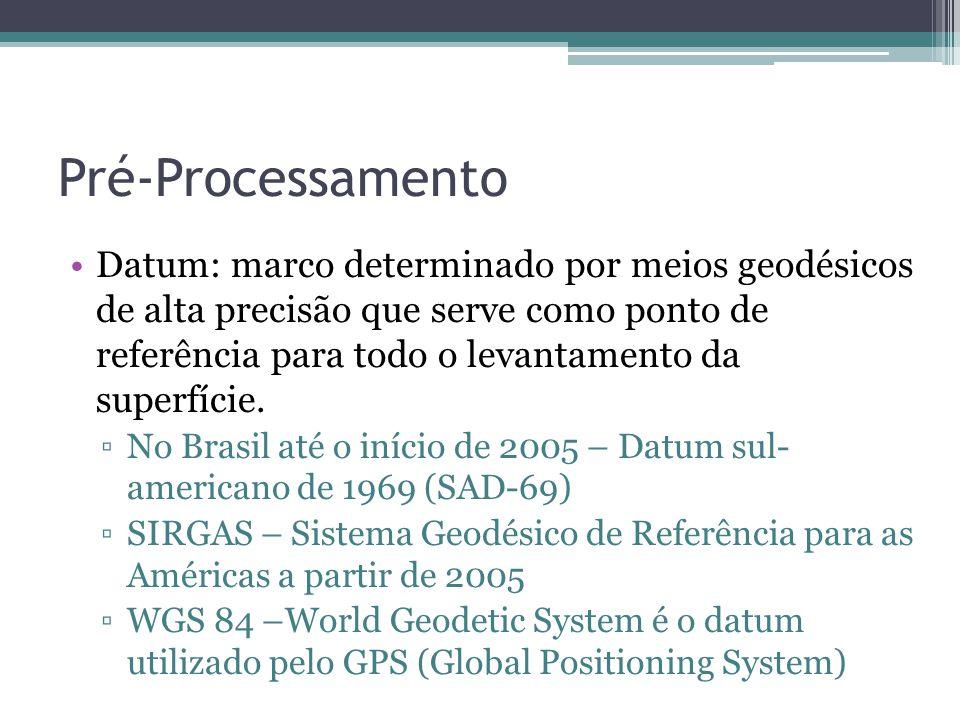 Pré-Processamento •Datum: marco determinado por meios geodésicos de alta precisão que serve como ponto de referência para todo o levantamento da super