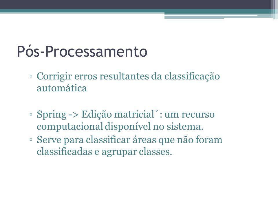 Pós-Processamento ▫Corrigir erros resultantes da classificação automática ▫Spring -> Edição matricial´: um recurso computacional disponível no sistema