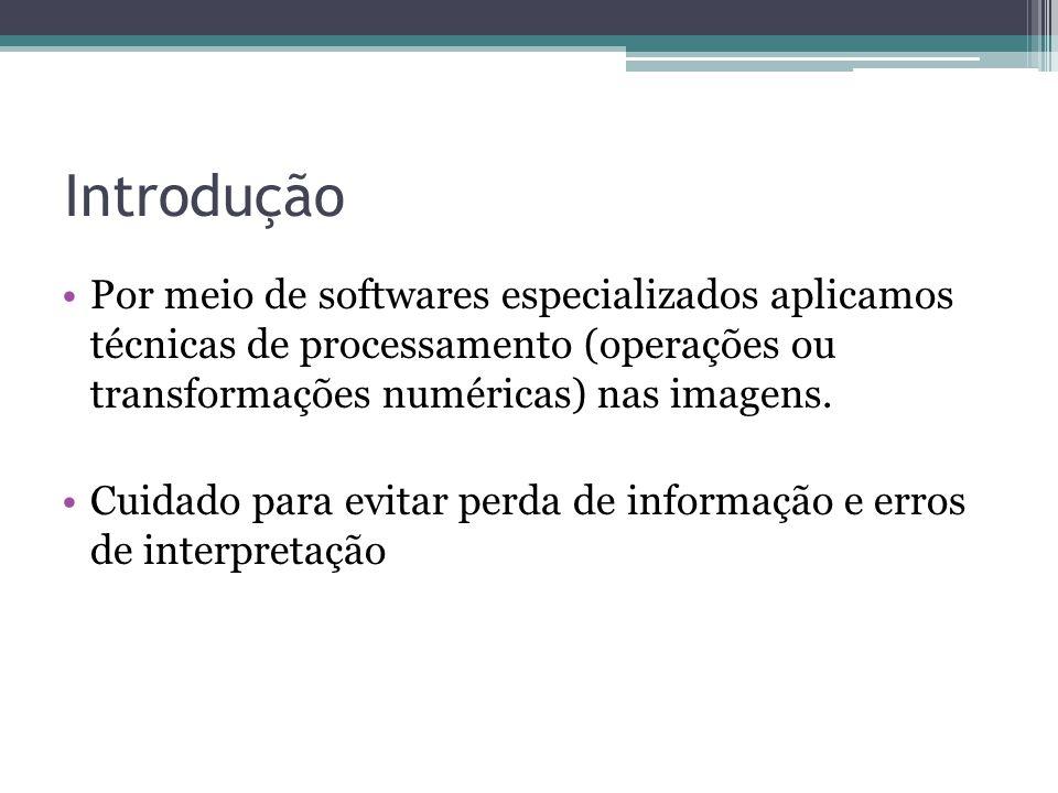 Introdução •Por meio de softwares especializados aplicamos técnicas de processamento (operações ou transformações numéricas) nas imagens. •Cuidado par