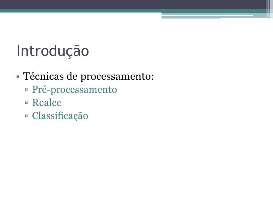 Introdução •Técnicas de processamento: ▫Pré-processamento ▫Realce ▫Classificação