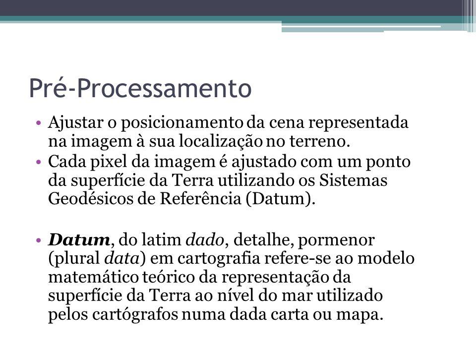 Pré-Processamento •Ajustar o posicionamento da cena representada na imagem à sua localização no terreno. •Cada pixel da imagem é ajustado com um ponto