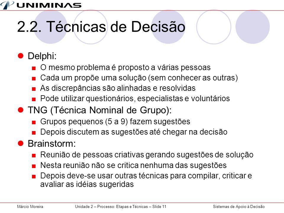 Sistemas de Apoio à DecisãoMárcio MoreiraUnidade 2 – Processo: Etapas e Técnicas – Slide 11 2.2.
