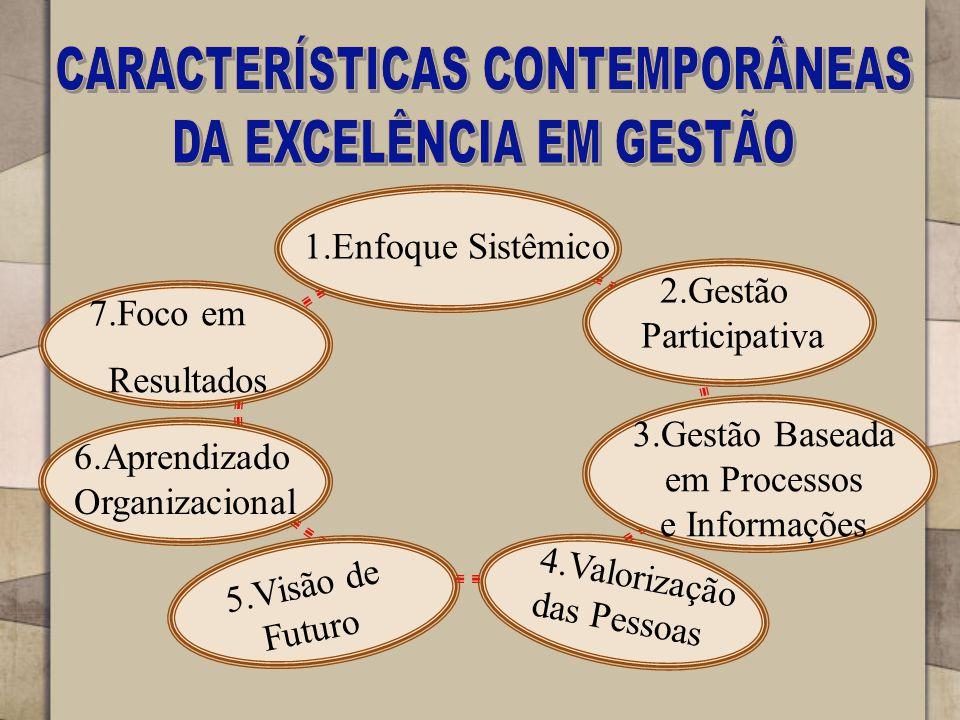 1.Enfoque Sistêmico 2.Gestão Participativa 3.Gestão Baseada em Processos e Informações 4.Valorização das Pessoas 5.Visão de Futuro 6.Aprendizado Organizacional 7.Foco em Resultados