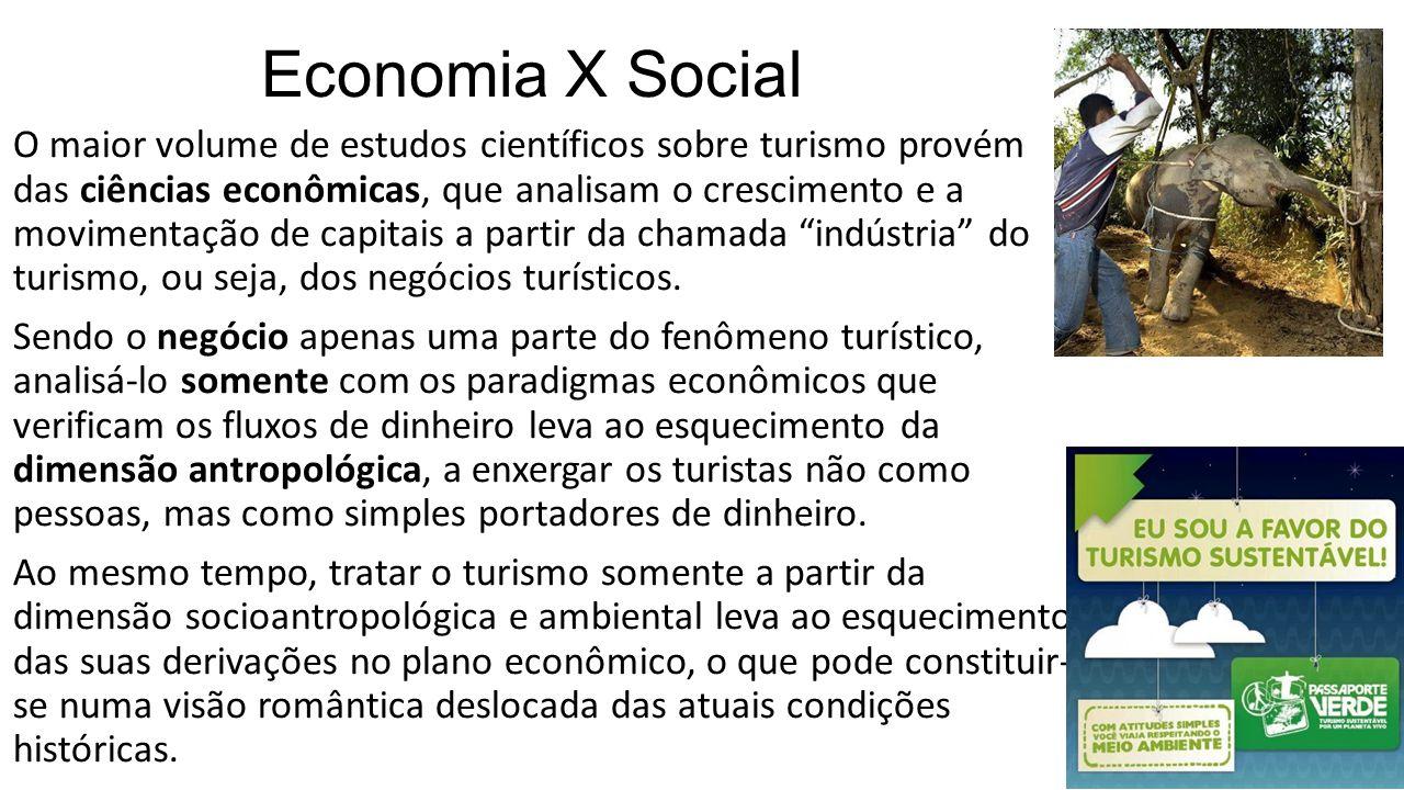 Economia X Social • O maior volume de estudos científicos sobre turismo provém das ciências econômicas, que analisam o crescimento e a movimentação de