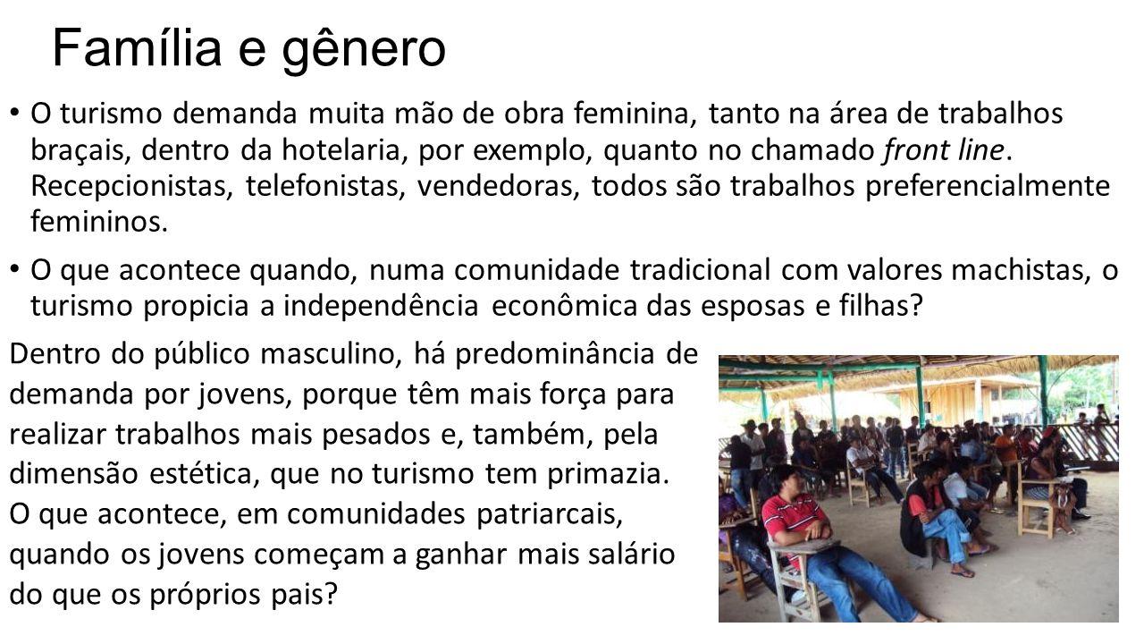 Família e gênero • O turismo demanda muita mão de obra feminina, tanto na área de trabalhos braçais, dentro da hotelaria, por exemplo, quanto no chama
