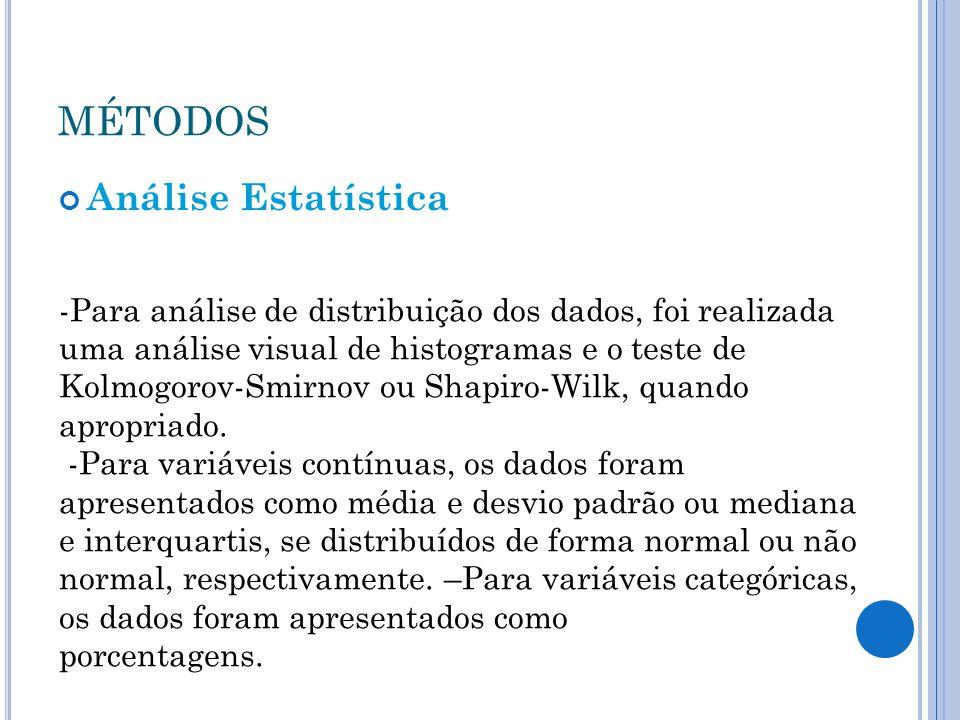 MÉTODOS Análise Estatística -Para análise de distribuição dos dados, foi realizada uma análise visual de histogramas e o teste de Kolmogorov-Smirnov o