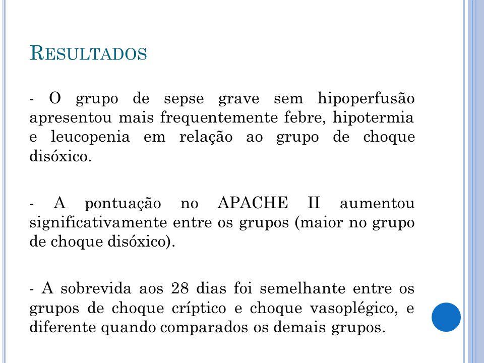 - O grupo de sepse grave sem hipoperfusão apresentou mais frequentemente febre, hipotermia e leucopenia em relação ao grupo de choque disóxico. - A po