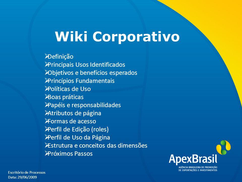 Escritório de Processos Data: 29/06/2009 Wiki Corporativo  Definição  Principais Usos Identificados  Objetivos e benefícios esperados  Princípios