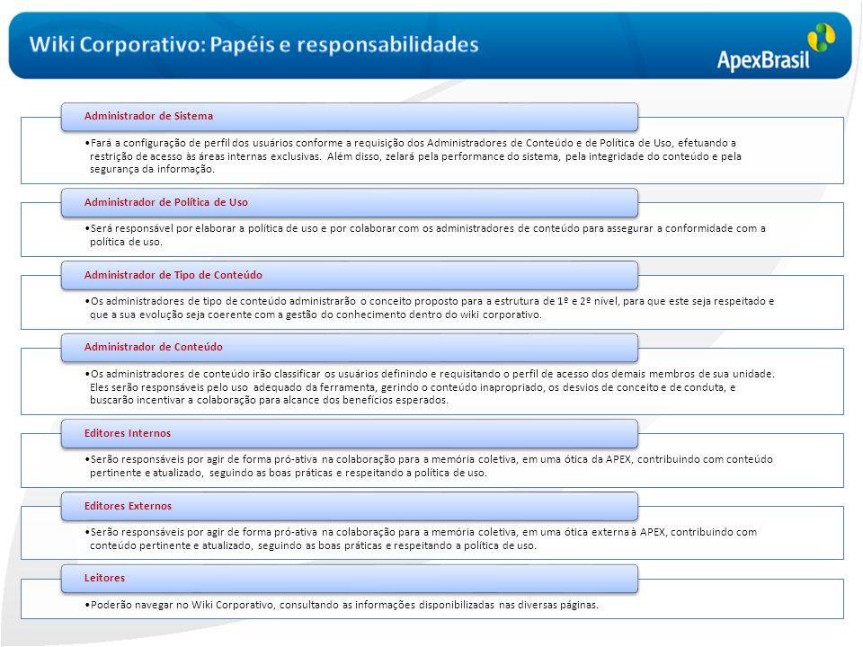 •Fará a configuração de perfil dos usuários conforme a requisição dos Administradores de Conteúdo e de Política de Uso, efetuando a restrição de acess