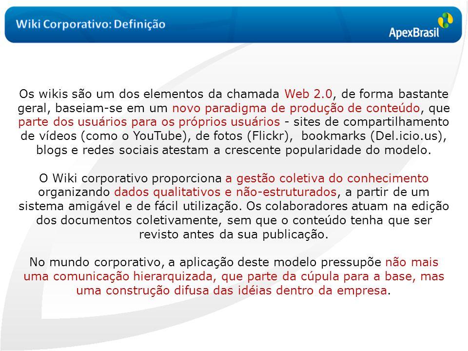 Os wikis são um dos elementos da chamada Web 2.0, de forma bastante geral, baseiam-se em um novo paradigma de produção de conteúdo, que parte dos usuá