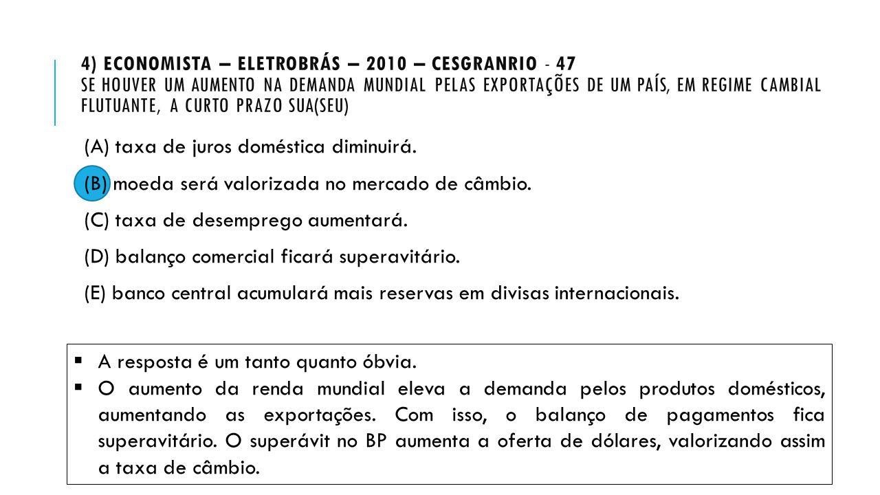 4) ECONOMISTA – ELETROBRÁS – 2010 – CESGRANRIO - 47 SE HOUVER UM AUMENTO NA DEMANDA MUNDIAL PELAS EXPORTAÇÕES DE UM PAÍS, EM REGIME CAMBIAL FLUTUANTE,