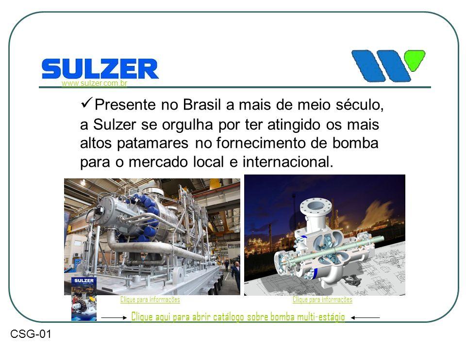  Presente no Brasil a mais de meio século, a Sulzer se orgulha por ter atingido os mais altos patamares no fornecimento de bomba para o mercado local
