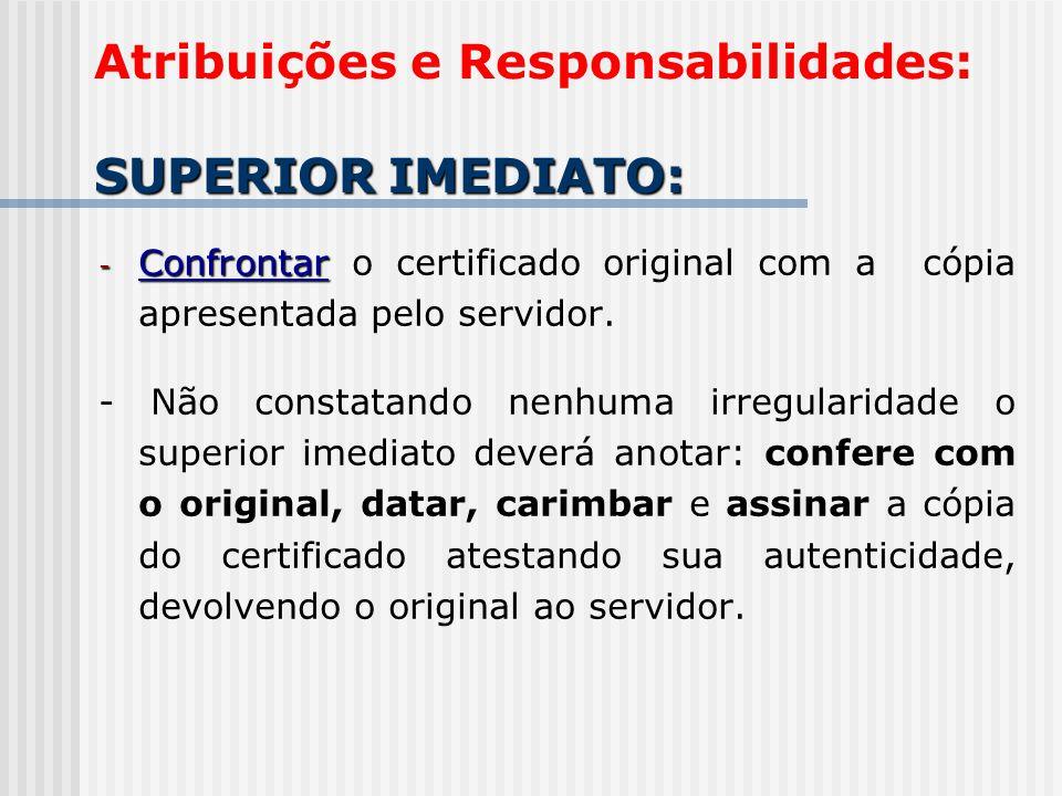 - Confrontar - Confrontar o certificado original com a cópia apresentada pelo servidor. - Não constatando nenhuma irregularidade o superior imediato d