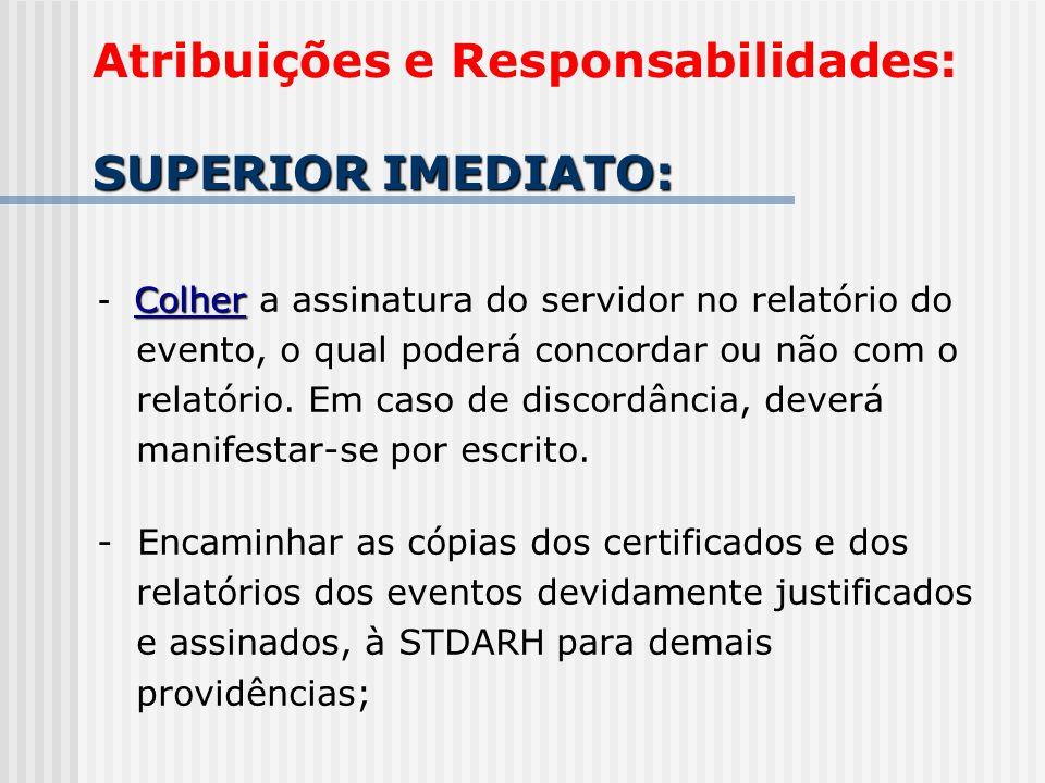 Colher - Colher a assinatura do servidor no relatório do evento, o qual poderá concordar ou não com o relatório. Em caso de discordância, deverá manif