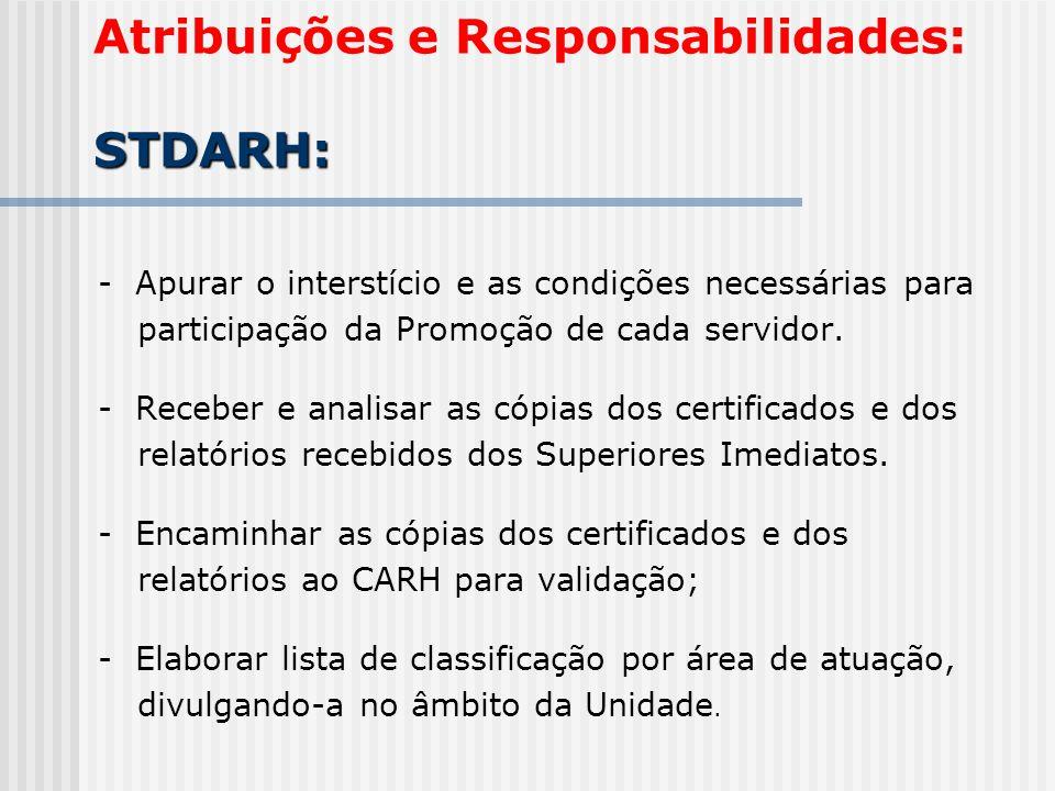 STDARH: Atribuições e Responsabilidades: STDARH: - Apurar o interstício e as condições necessárias para participação da Promoção de cada servidor.