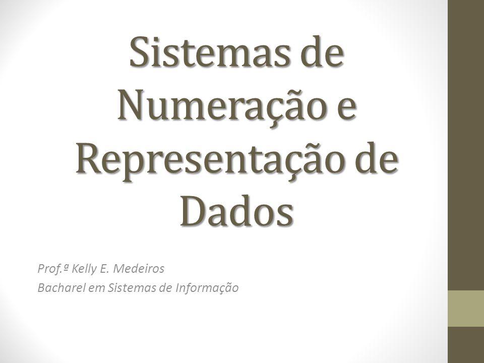 Sistemas de Numeração e Representação de Dados Prof.ª Kelly E. Medeiros Bacharel em Sistemas de Informação