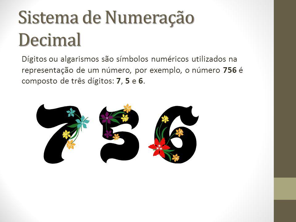 Sistema de Numeração Decimal Dígitos ou algarismos são símbolos numéricos utilizados na representação de um número, por exemplo, o número 756 é compos