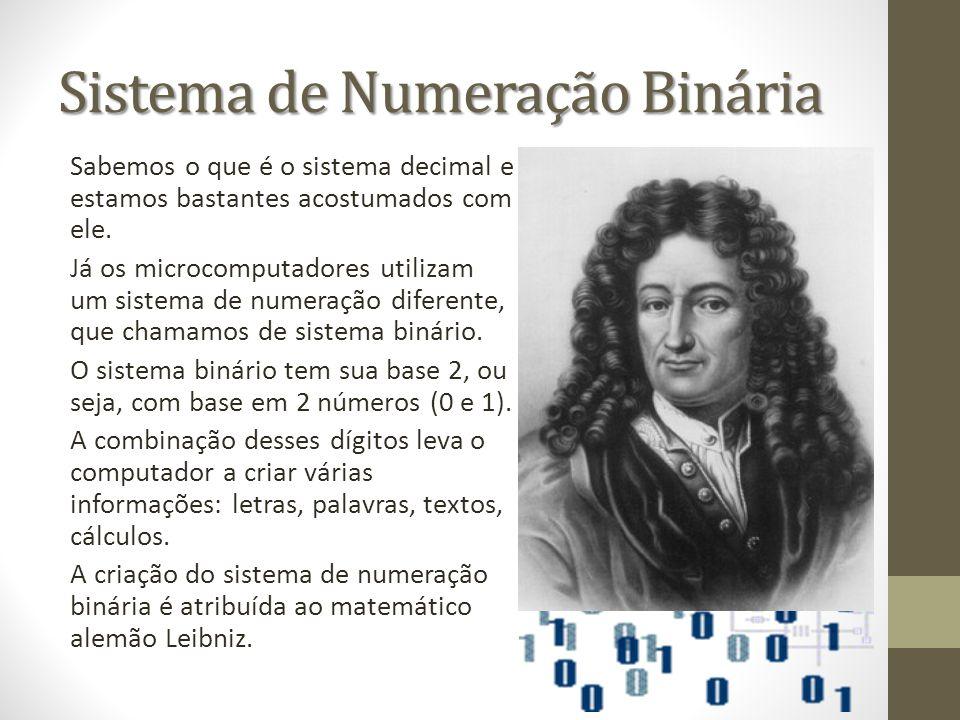 Sistema de Numeração Binária Sabemos o que é o sistema decimal e estamos bastantes acostumados com ele. Já os microcomputadores utilizam um sistema de
