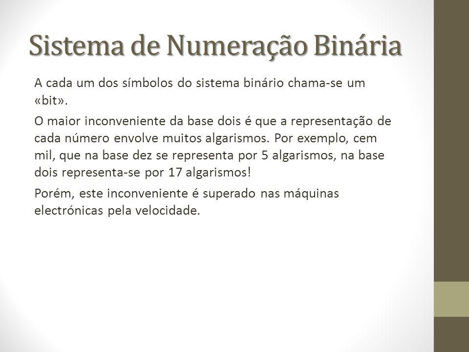 Sistema de Numeração Binária A cada um dos símbolos do sistema binário chama-se um «bit». O maior inconveniente da base dois é que a representação de