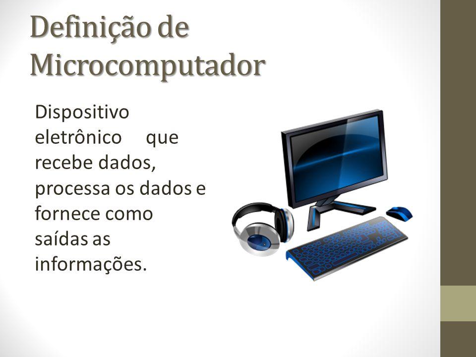 Definição de Microcomputador Dispositivo eletrônico que recebe dados, processa os dados e fornece como saídas as informações.