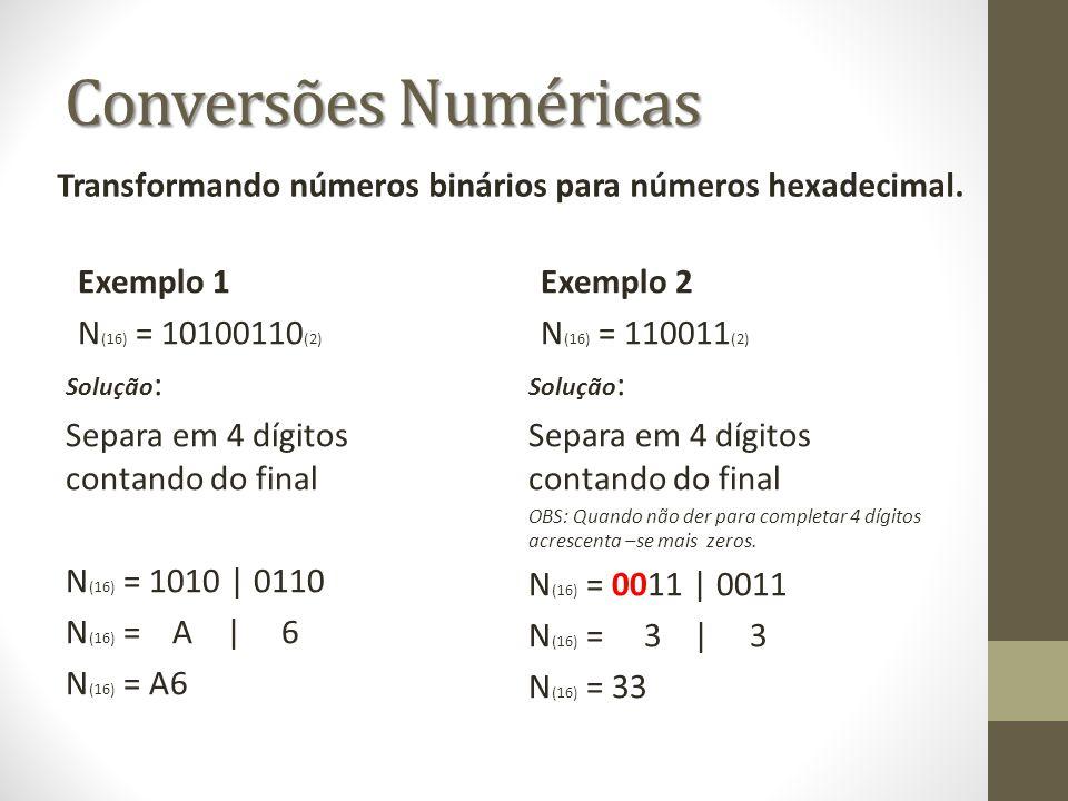 Conversões Numéricas Exemplo 1 N (16) = 10100110 (2) Solução : Separa em 4 dígitos contando do final N (16) = 1010 | 0110 N (16) = A | 6 N (16) = A6 E