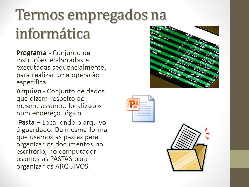 Termos empregados na informática Programa - Conjunto de instruções elaboradas e executadas sequencialmente, para realizar uma operação específica. Arq