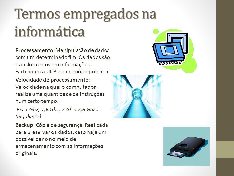 Termos empregados na informática Processamento: Manipulação de dados com um determinado fim. Os dados são transformados em informações. Participam a U