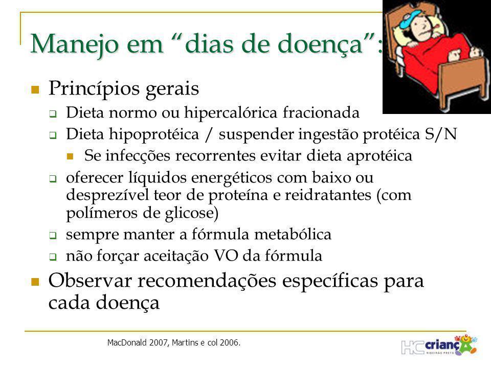 """Manejo em """"dias de doença"""":  Princípios gerais  Dieta normo ou hipercalórica fracionada  Dieta hipoprotéica / suspender ingestão protéica S/N  Se"""
