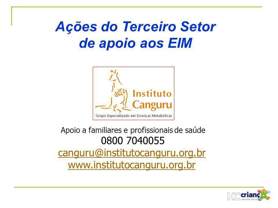 Ações do Terceiro Setor de apoio aos EIM Apoio a familiares e profissionais de saúde 0800 7040055 canguru@institutocanguru.org.br www.institutocanguru