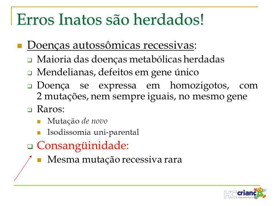 Erros Inatos são herdados!  Doenças autossômicas recessivas:  Maioria das doenças metabólicas herdadas  Mendelianas, defeitos em gene único  Doenç