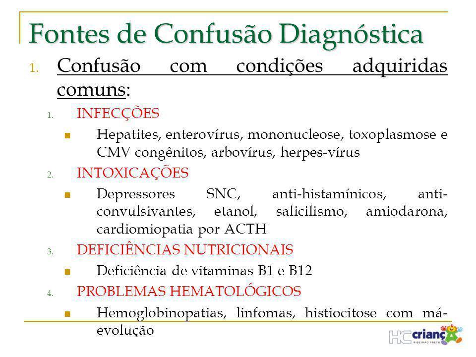 Fontes de Confusão Diagnóstica 1. Confusão com condições adquiridas comuns: 1. INFECÇÕES  Hepatites, enterovírus, mononucleose, toxoplasmose e CMV co