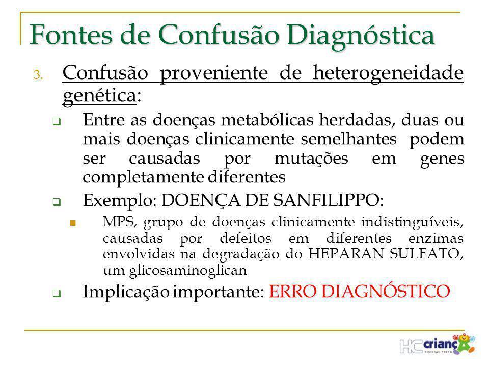Fontes de Confusão Diagnóstica 3. Confusão proveniente de heterogeneidade genética:  Entre as doenças metabólicas herdadas, duas ou mais doenças clin